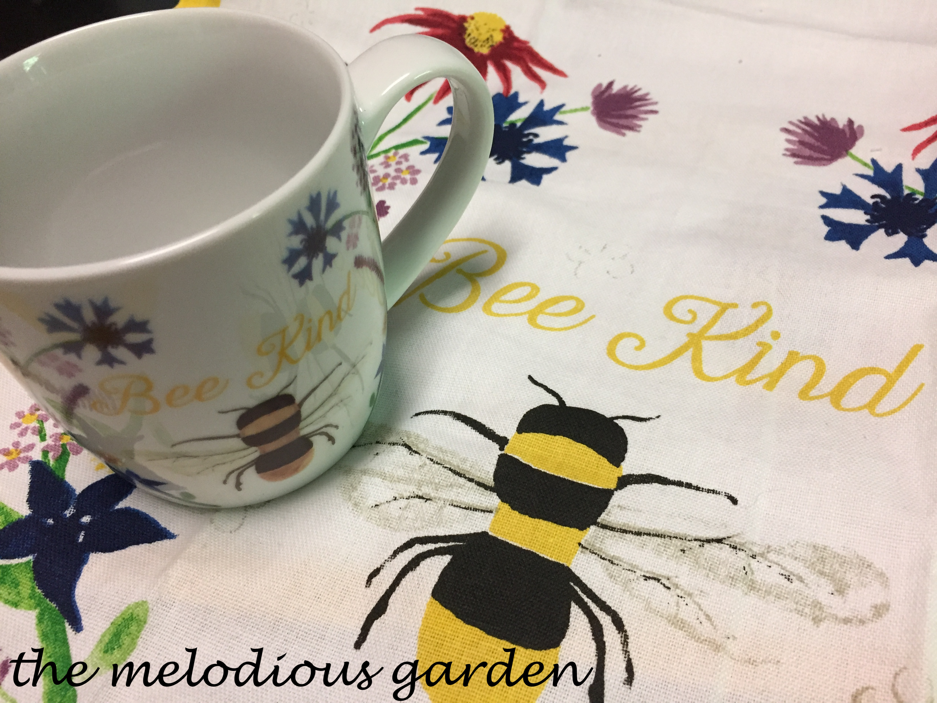 bee kind cup and tea towel